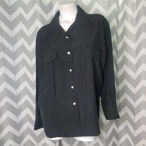 VTG SILK LAND 100% silk black blouse